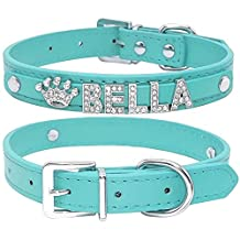 Didog Smooth PU Leather Custom Dog Collars with Rhinestone Personalized Name Letters,Fit Small Medium Dogs,Blue,S Size