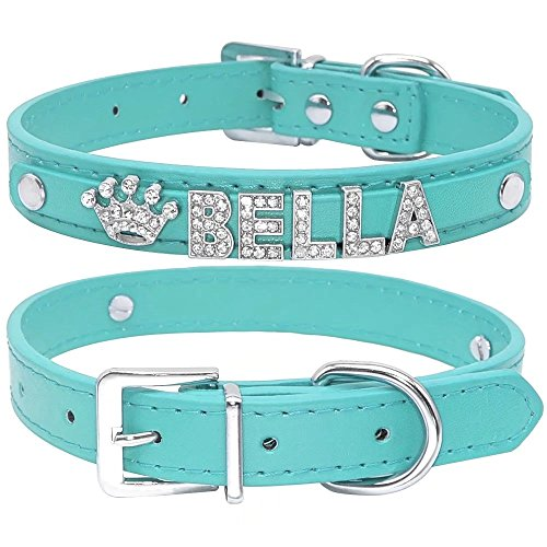 Didog Smooth PU Leather Custom Dog Collars with Rhinestone Personalized Name Letters,Fit Small Medium Dogs,Blue,XS Size