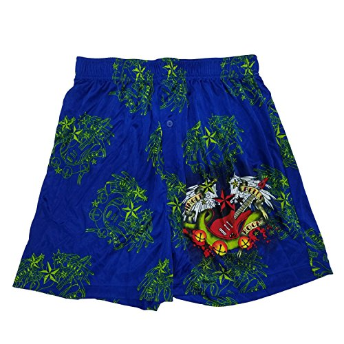 Holiday Mens Blue Jingle Bells Rock Electric Guitar Christmas Silky Boxer Shorts (Rock Boxer Shorts)
