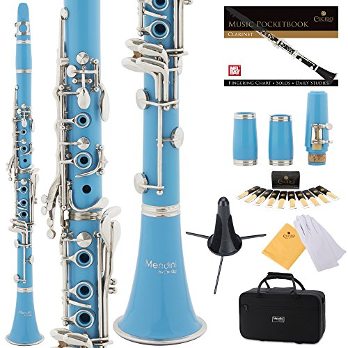 Mendini Sky Blue ABS B Flat Clarinet with 2 Barrels, Case, Stand, Pocketbook, Mouthpiece, 10 Reeds and More, MCT-2SB+SD+PB by Mendini by Cecilio
