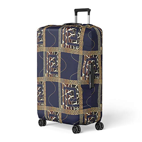 Pinbeam Luggage Cover Modern Geometric Check Blue 3D Gold Meander Greek Travel Suitcase Cover Protector Baggage Case Fits 22-24 inches ()