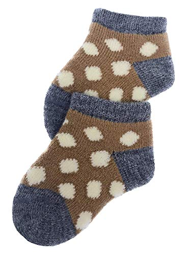 Warrior Alpaca Socks - Dye-Free Infant & Toddler Ankle Socks - Unisex - Baby Alpaca Wool SoxNEW (OO/ 6-12mo, Butterscotch/Grey/Off-White)