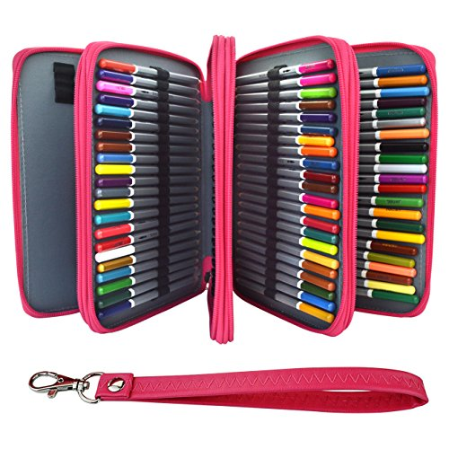 168 Slots Deluxe PU Leather Pencil Case, Ishua Feelily Multi-layer PU Leather Pencil Holder for Colored Pencils Students Artist Pen Bag Pouch Stationary(Pencils Not Included) (Rose Red)