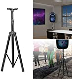 GPCT [Universal] Speaker [Corrosion Resistant] Adjustable Tripod Stand. [Heavy Duty] Holds Up To 60KG/132LBS. Easy Storage [Non Slip] 4 Different Heights DJ PA Speaker Stand. [BLACK]