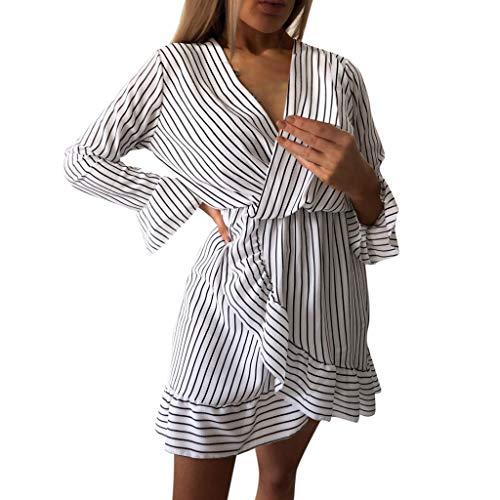 Clothful  Women Dress, Women Stripe Printing V-Neck Long Sleeves Dress Chiffon Beach Party Mini Dress White