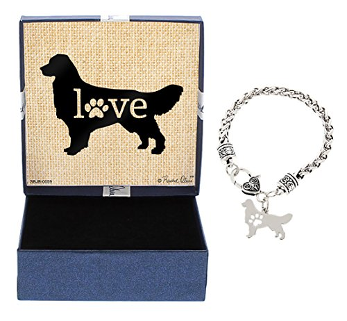 Golden Retriever Bracelet Gift Love Dog Breed Silhouette Charm Bracelet Silver-Tone Bracelet Gift Golden Retriever Owner Jewelry Box Idea A Rescue Dog Mom