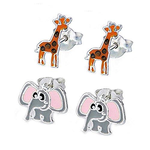 SL Silver Juego de kinderohr anillos elefante y jirafa 925plata en caja de regalo