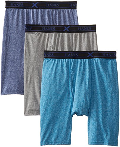 Hanes Ultimate Men's 3-Pack X-Temp Lightweight Performance Long Leg Boxer Brief, Assorted, Medium ()