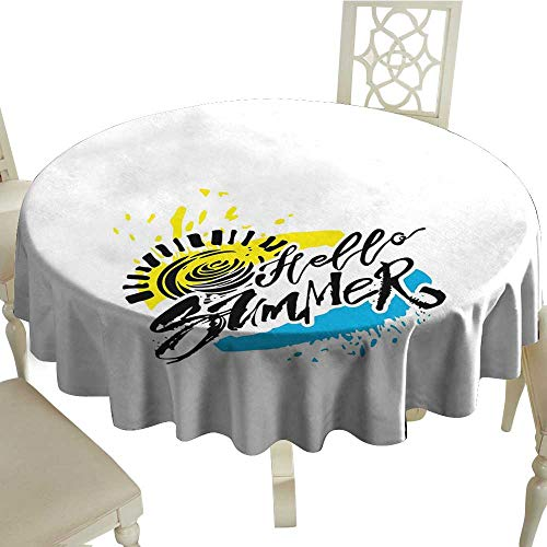 Angoueleven Indoor Tablecloth Hello Summer,Grunge Style Speckled Brush Strokes with Motivational Handwritten Lettering,Multicolor Kitchen Dinning Tabletop Decoration D 70