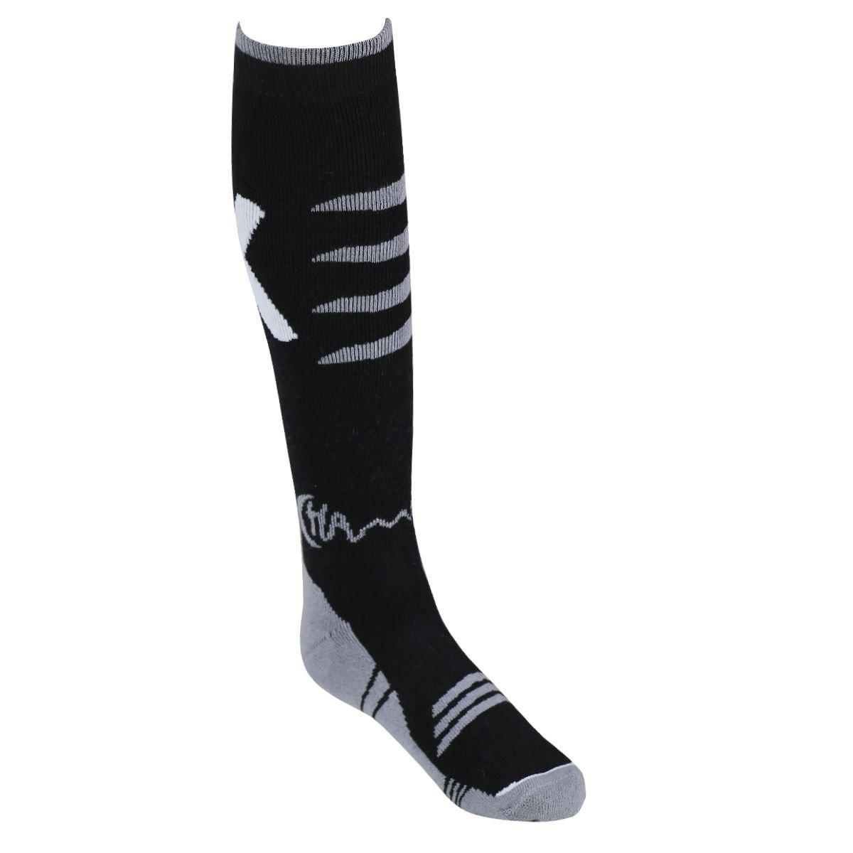 Ski-Socken Wintersocken, 1 oder 2 Paar, Größe: 42-46 One Size für Herren, Grau-Schwarz oder Blau-Schwarz