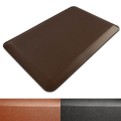 casa pura Kitchen Mat | Anti-Fatigue Standing Comfort Mat | Non-Slip Memory Foam Pad | Floor Mat for Business and Home Use | 3/4 Inch Thick | 20x39 Inches - Brown