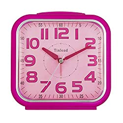 5.5 Silent Analog Alarm Clock Non Ticking, Gentle Wake, Beep Sounds, Increasing Volume, Battery Operated Snooze and Light Functions, Easy Set, Black (Best for Kids)