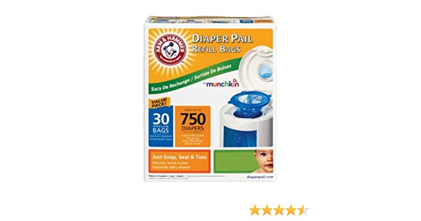 Amazon.com : Munchkin Arm & Hammer Diaper Pail Refill Bags, 90 Count : Baby