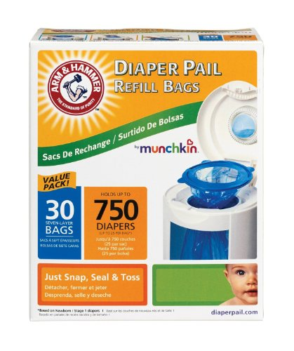 Munchkin Super Size Value Package Arm & Hammer Diaper Pail Refill Bags -60 Bags