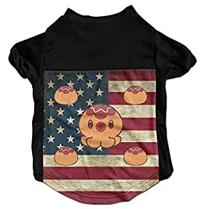 Japan Octopus Balls Costumes, Clothing, Shirt, Vest, T-shirt, Puppy Pet Dog Cat Fashion 100% Polyester Fiber Tee Gift For Any Animal Fan Lovers Black Large