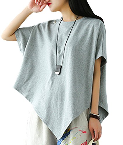 Best Work Graphic Tee - YESNO E03 Women Tee T-Shirts Handkerchief Hem Tops Casual Loose Fit Asymmetric Hemline Crew Neck (One Size (US12-18), E03 Gray-Thick Material)