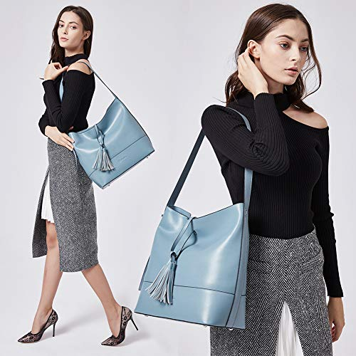 Bleu Femme À Sac Grand Epaule Bandoulière Main Cuir Hobo Porté Concepteur Fourre Véritable Bostanten qROwdEq