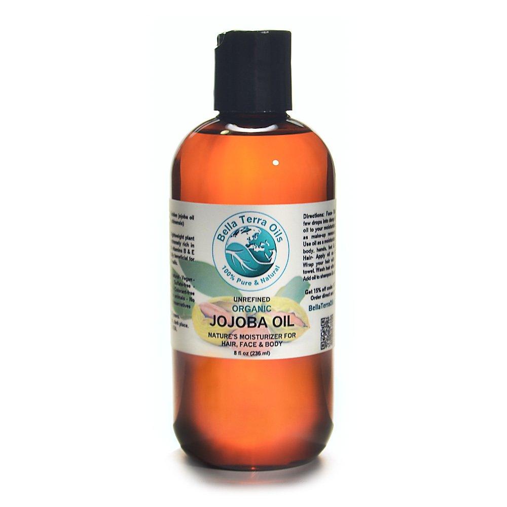 Jojoba Oil 8 oz 100% Pure Cold-pressed Unrefined Organic - Bella Terra Oils