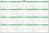 Earth Green 2019 Dry-erase Horizontal Wall Calendar 24 in. X 36 in.