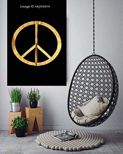 New Launched Peace Sign Gold Black Small Tapestry Poster 40x30 inches Designer Beautiful Wall Hanging Cotton Sheet Printed By (Peace Sign Tapestries)