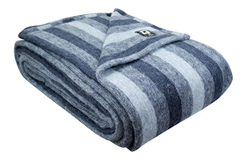 Wool Natural Blanket - Superfine Woven Alpaca Wool Bed Blanket King Size 100% Natural Fiber (Navy Blue/Blue/Soft Blue)