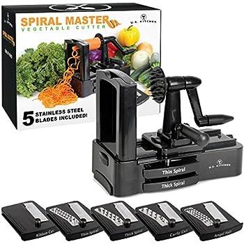 U.S. Kitchen Supply Spiral Master Vegetable Cutter with 5 Versatile Stainless Steel Slicer Blades and Blade Case - Durable, Innovative, Safe - Make Spiral Veggie Pasta, Spaghetti - Cut Fruit