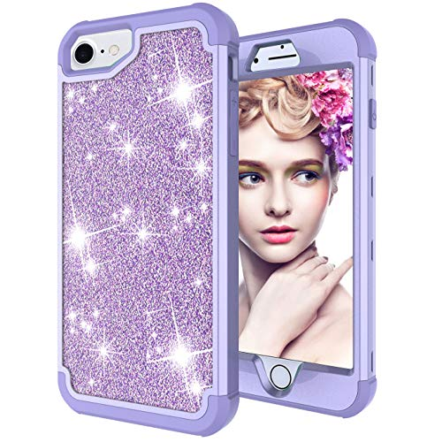 Dual Layer Shockproof Hard PC Case for iPhone 6,Hybrid Armor Sparkle Glitter Back Cover,MOIKY for iPhone 7/8 Rugged Drop Resistant Dust Proof Shell Impact Protection - Full Purple