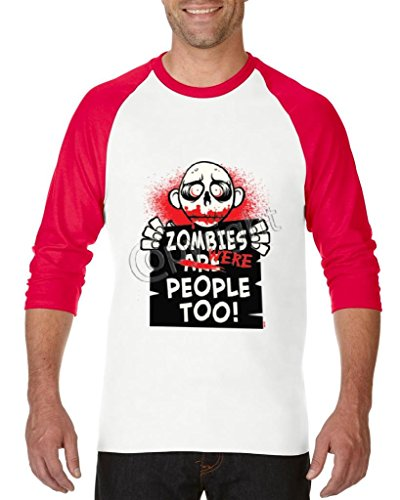 Blue Tees Zombies Were People Too! Halloween Fashion Party People Best Friend Couples Gift Unisex Raglan Baseball T-Shirt X-Large White -