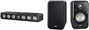 Polk Audio Signature Series S35 Center Channel Speaker (6 Drivers) & S20 Signature Series Bookshelf Speakers for Home Theater, Surround Sound and Premium Music, Black