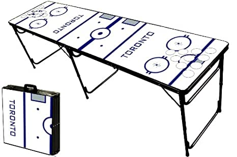 8-Foot Professional Beer Pong Table w/ OPTIONAL Cup Holes - Toronto Hockey Rink Graphic PartyPongTables.com