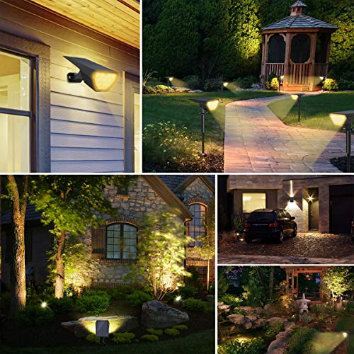 Solarleuchte Garten, Riapow 12 LED Solarstrahler mit 2 Beleuchtungsmodi, Wasserdicht Solarlampen für Außen Wandleuchte, IP67, Gartenleuchten für Wand Rasen Auffahrt Pfad Innenhof Balkon(2 Stk.)