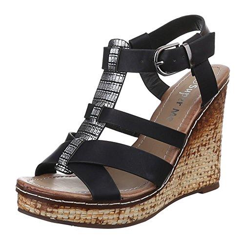 Ital-Design Damen Schuhe, Y-13, Sandaletten Keil Pumps Plateau Schwarz