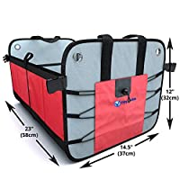 Tidy Globe Collapsible and Foldable Auto Trunk Organizer with 3 Compartments, Side Pockets and Velcro Divider