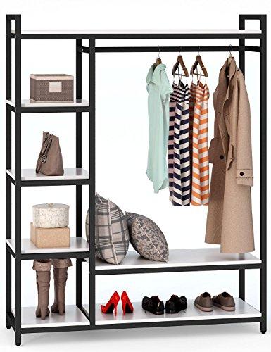 Little Tree Free-Standing Closet Garment Organizer, Heavy Duty Clothes Rack with 6 Shelves and Handing Bar, Large Closet Storage Stytem & Wardrobe Garment, Black & White