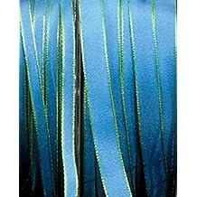 "Sky Blue and Lime Green Taffeta Narrow Wired Edge Ribbon .38"" x 55 Yards"