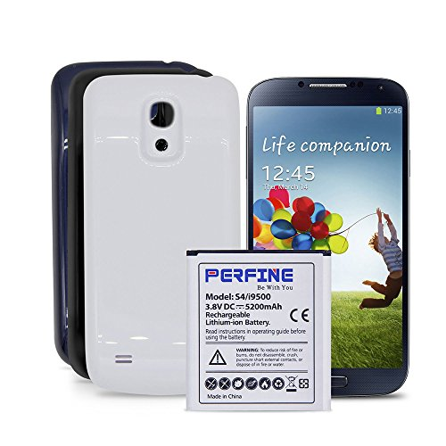 Oem Extended Battery (Perfine Samsung Galaxy S4 5200mAh Extended Battery for GT-i9500 i545 L720 M919 B600BE OEM Replacement Battery with 3 Back Covers (Black-White-Blue)[NFC/Google Wallet])