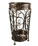 Brelso Super Quality Umbrella Stand, Umbrella Holder, Antique Look Metal, Entry Hallway Décor, Round Style, w/Removable Drip Tray. (Antique Bronze)