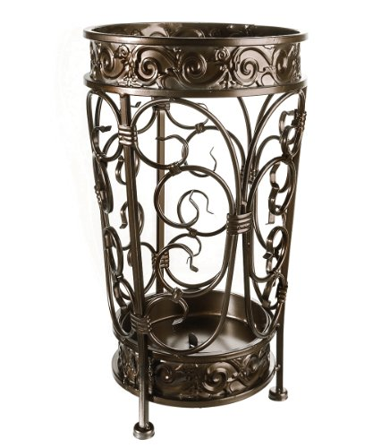 - Brelso Super Quality Umbrella Stand, Umbrella Holder, Antique Look Metal, Entry Hallway Décor, Round Style, w/Removable Drip Tray. (Antique Bronze)