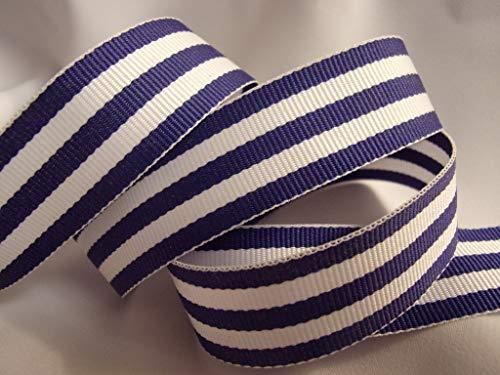 White Stripe Grosgrain - Grosgrain Ribbon - Royal Blue and White Stripes - 3/8