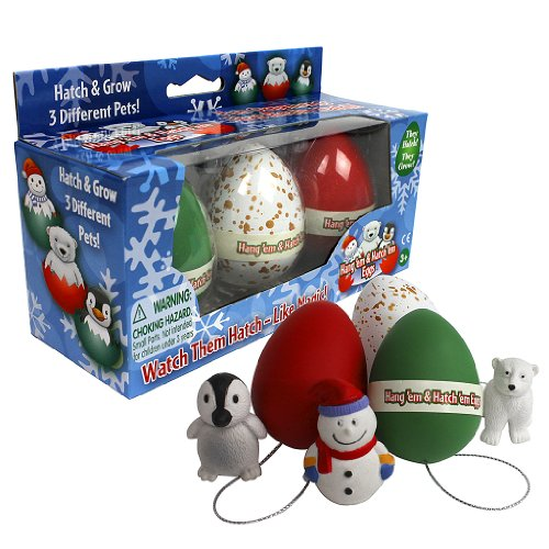 Christmas Ornament Super Grow Eggs - Hang 'Em and Hatch 'Em X-Mas Hatching Eggs - Grow Three Different Super Sized Pets!