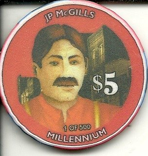 - $5 j.p. mcgills cripple creek colorado casino chip obsolete millennium