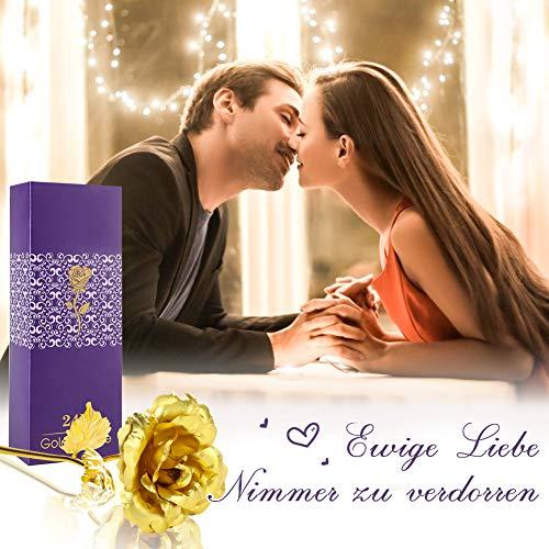 Koogel Goldene Rose 24K, Künstliche Rosenblume mit Love Unterlage Rosen Geschenkbox für Frauen Freundin Muttertag Thanksgiving Valentinstag Jubiläum Hochzeit Geburtstag