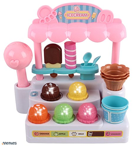 - Memtes Mini Ice Cream Shop Toy Stand Pretend Play Set with Lights and Sound For Kids