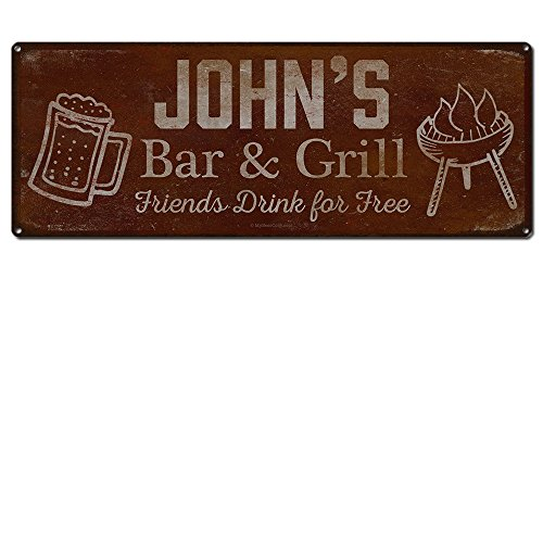 Friends Tin Sign - Personalized Barbecue Sign ~ John's Bar & Grill Friends Drink for Free ~ 6 x 16 Inch 24-Gauge Steel ~ Metal Bar Accessories & Wall Decorations ~ USA Made ~ BBQ Rustic Vintage Distressed Look
