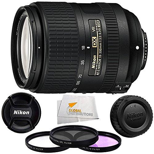 Nikon 18-300mm f/3.5-6.3G ED VR AF-S DX Nikkor Lens (International Model No Warranty) + 3PC Multi-Coated Filter Kit (UV+CPL+FLD) + Microfiber Cleaning Cloth