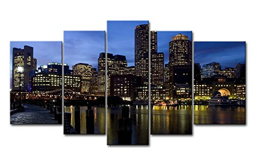 Piece Wall Art Painting Boston Ablaze With Lights By The River Pictures Prints On Canvas City The Picture Decor Oil For Home Modern Decoration Print For Bedroom ()