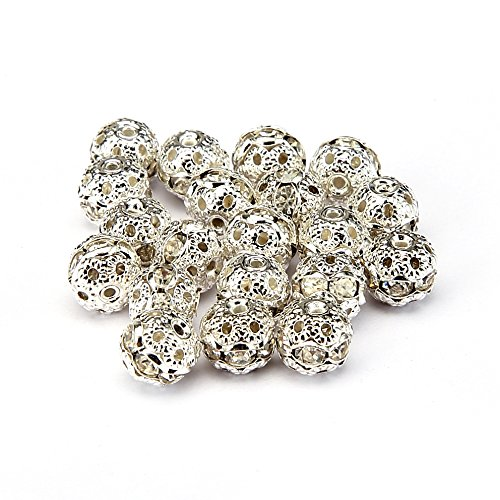 BRCbeads Top Quality 8mm CLEAR CRYSTAL Color Metal Style #1 CRYSTAL RHINESTONE BALL Shape SPACER BEADS Silver Plated 20pcs Per Bag For Jewelry Making ()