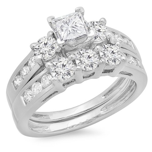 1.90 Carat (ctw) 14K White Gold Princess & Round Diamond 3 Stone Bridal Engagement Set (Size 5) by DazzlingRock Collection