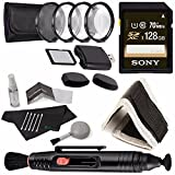 Sony 128GB UHS-I SDXC Memory Card (Class 10) + 52mm +1 +2 +4 +10 Close-Up Macro Filter Set with Pouch + Memory Card Wallet + Memory Card Reader + Lens Pen Cleaner + 5 piece Lens Cleaning Kit Bundle