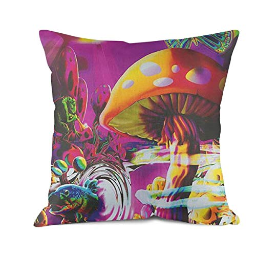 MIENTITE Personalized Throw Pillow Cases Trippy Magic Mushroom Pillow Covers Decorative Home Decor Design Couch Cushion Covers 18